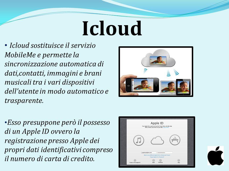 Icloud Icloud sostituisce il servizio MobileMe e permette la sincronizzazione automatica di dati,contatti, immagini e brani musicali tra i vari dispos