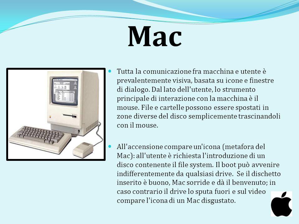 Mac Tutta la comunicazione fra macchina e utente è prevalentemente visiva, basata su icone e finestre di dialogo. Dal lato dell'utente, lo strumento p