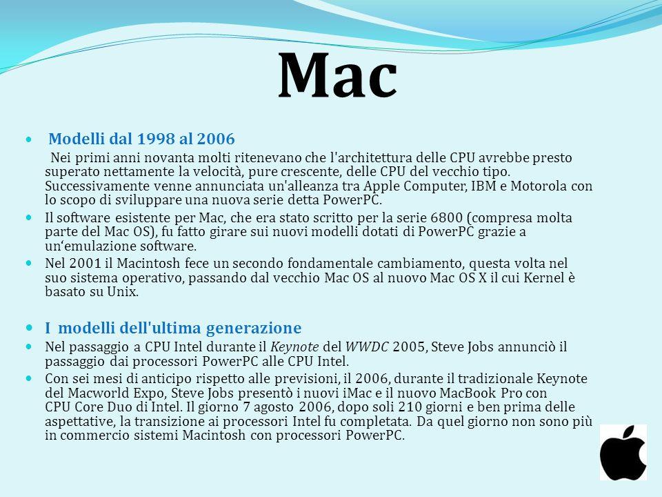 Mac Modelli dal 1998 al 2006 Nei primi anni novanta molti ritenevano che l'architettura delle CPU avrebbe presto superato nettamente la velocità, pure