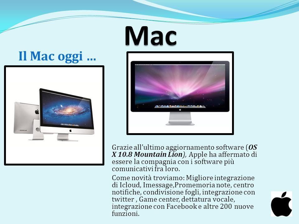 Grazie allultimo aggiornamento software (OS X 10.8 Mountain Lion), Apple ha affermato di essere la compagnia con i software più comunicativi fra loro.
