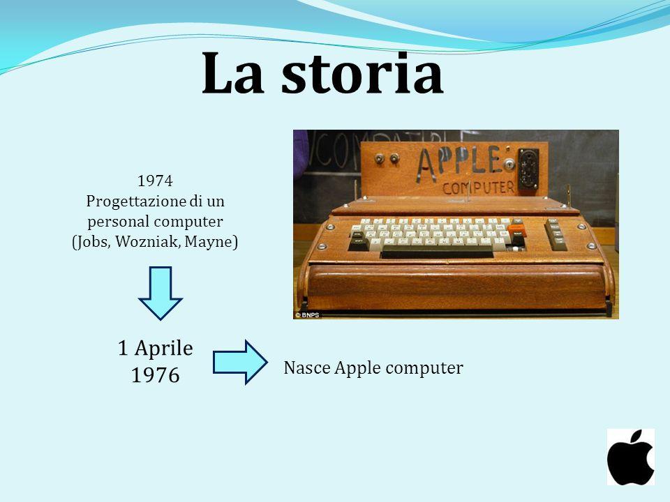 La storia 1 Aprile 1976 1974 Progettazione di un personal computer (Jobs, Wozniak, Mayne) Nasce Apple computer