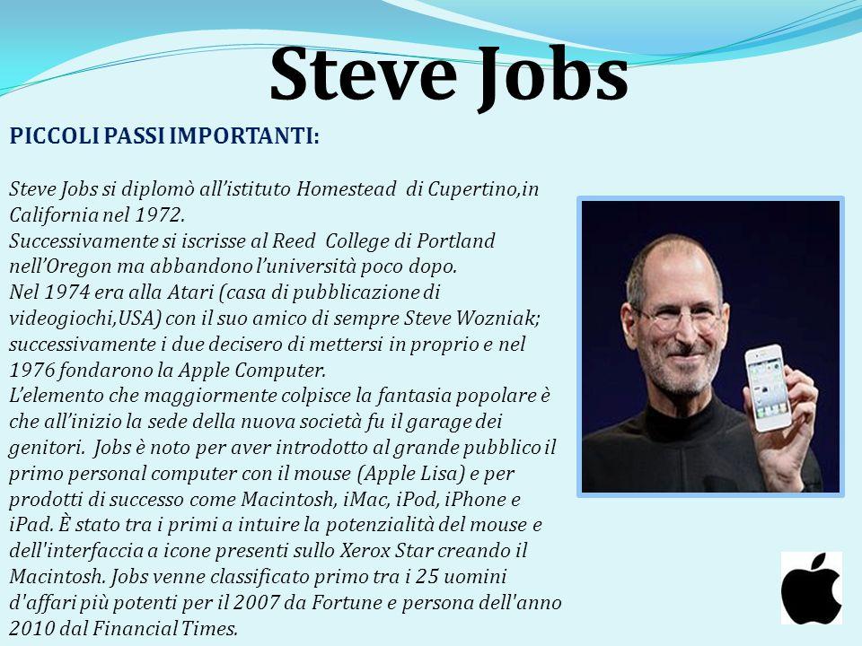 Steve Jobs PICCOLI PASSI IMPORTANTI: Steve Jobs si diplomò allistituto Homestead di Cupertino,in California nel 1972. Successivamente si iscrisse al R