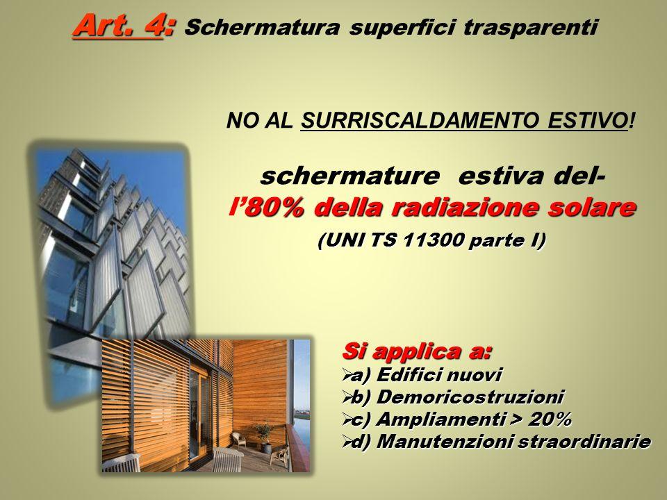Art. 4: Art. 4: Schermatura superfici trasparenti NO AL SURRISCALDAMENTO ESTIVO! schermature estiva del- 80% della radiazione solare l80% della radiaz