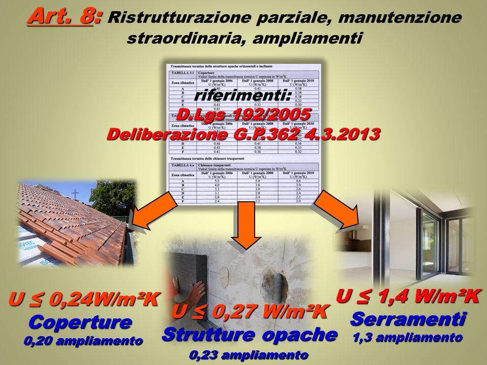 Art. 8: Art. 8: Ristrutturazione parziale, manutenzione straordinaria, ampliamenti U 0,27 W/m²K Strutture opache riferimenti: D.Lgs 192/2005 Deliberaz