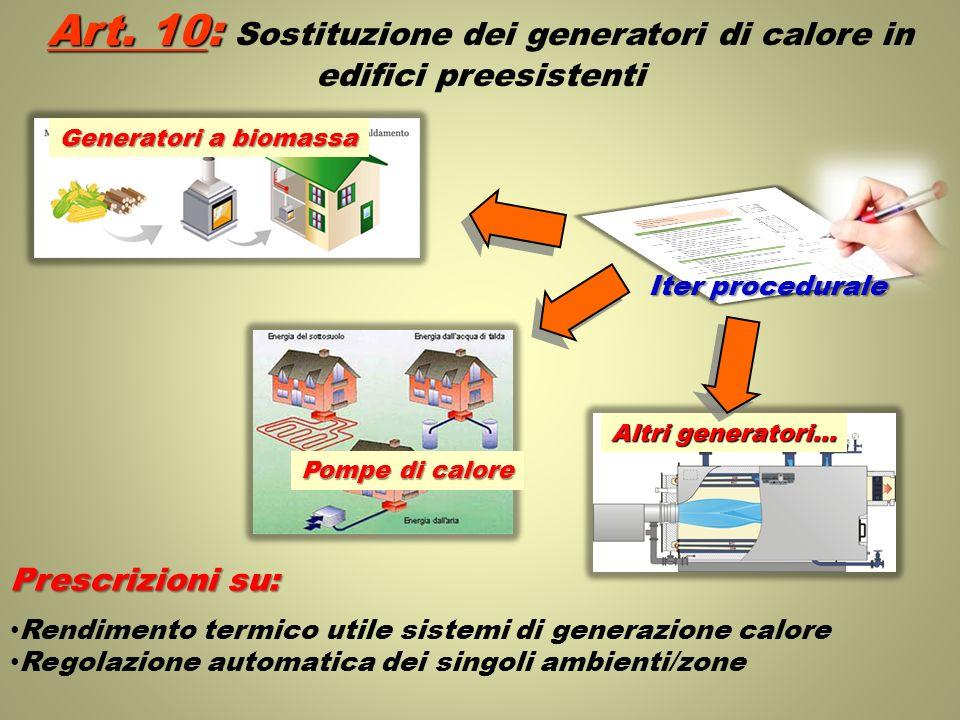 Art. 10: Art. 10: Sostituzione dei generatori di calore in edifici preesistenti Generatori a biomassa Pompe di calore Altri generatori… Iter procedura
