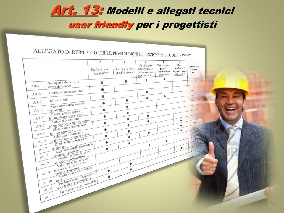 Art. 13: Art. 13: Modelli e allegati tecnici user friendly user friendly per i progettisti