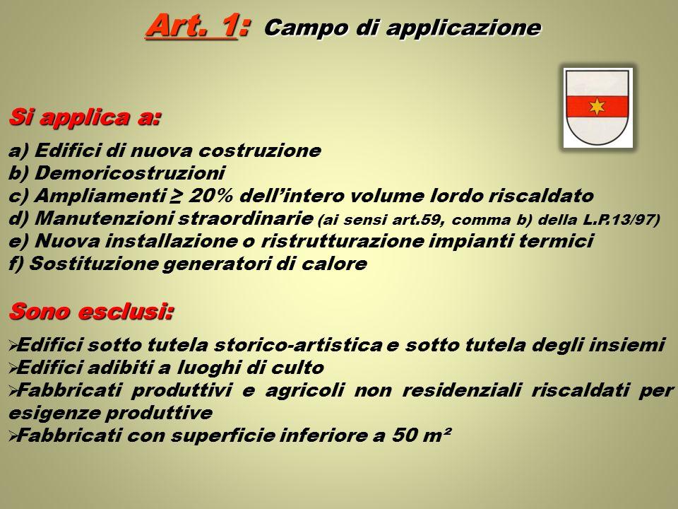 Si applica a: a) Edifici di nuova costruzione b) Demoricostruzioni c) Ampliamenti 20% dellintero volume lordo riscaldato d) Manutenzioni straordinarie