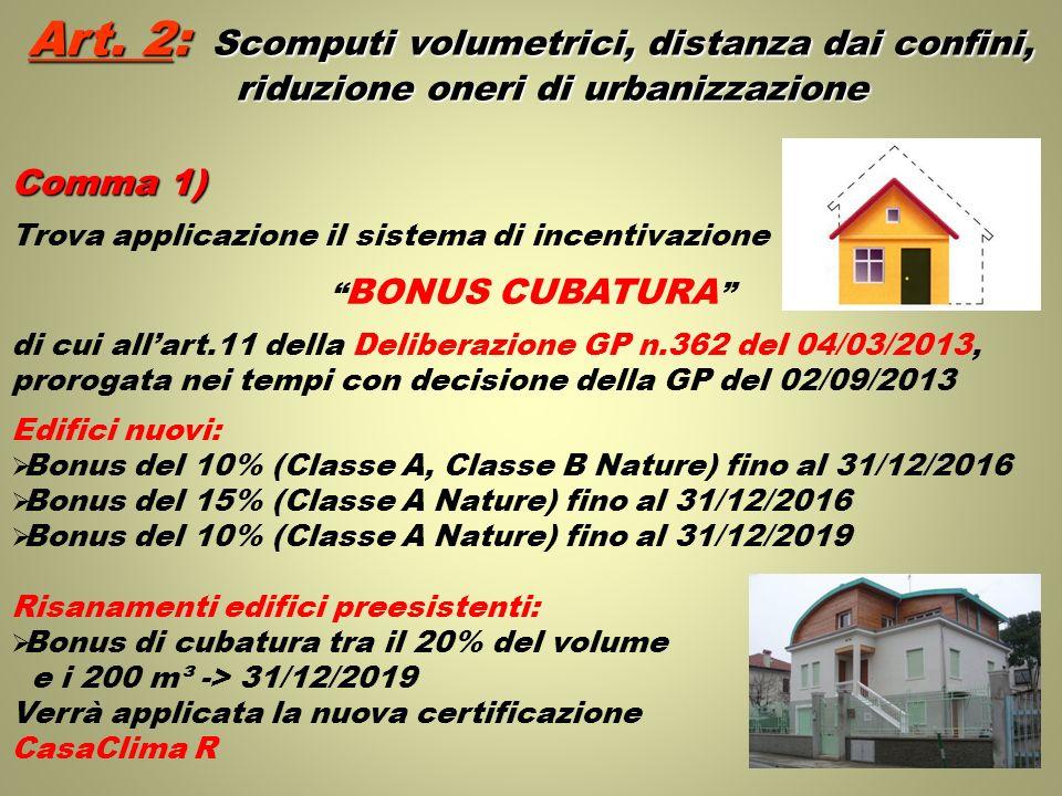 Art. 2: Scomputi volumetrici, distanza dai confini, riduzione oneri di urbanizzazione Comma 1) Trova applicazione il sistema di incentivazione BONUS C