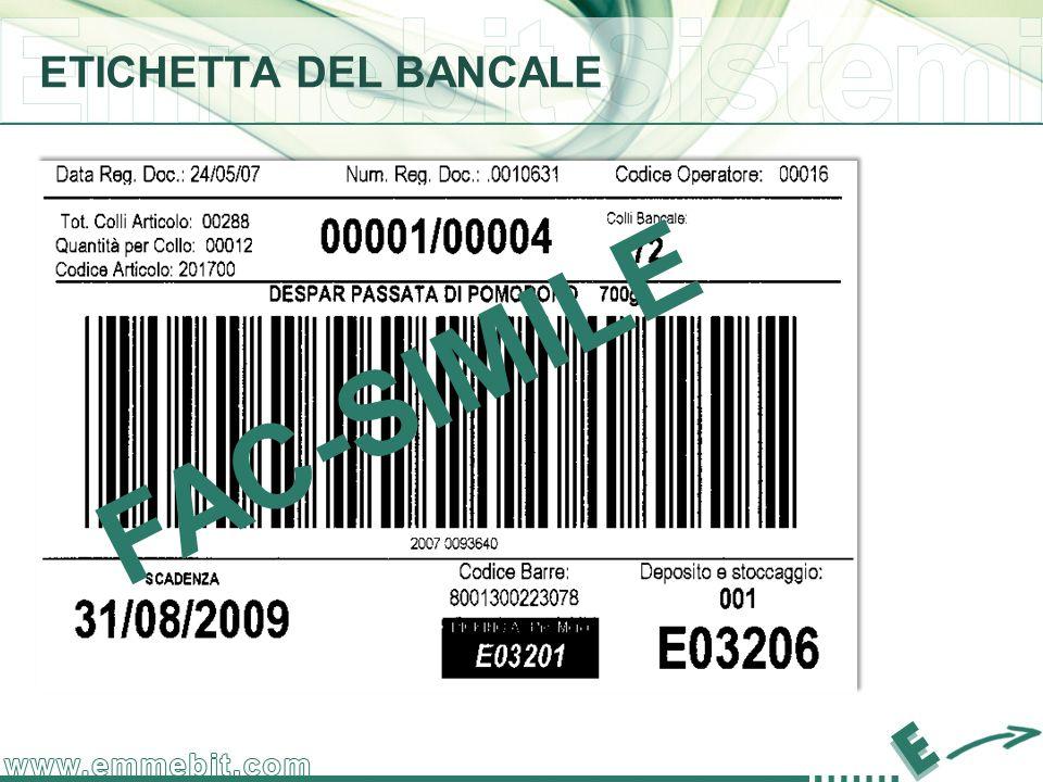 ETICHETTA DEL BANCALE FAC-SIMILE