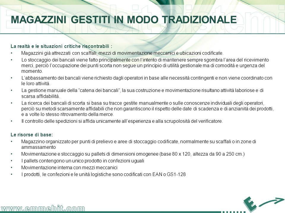 La realtà e le situazioni critiche riscontrabili : Magazzini già attrezzati con scaffali, mezzi di movimentazione meccanici e ubicazioni codificate.