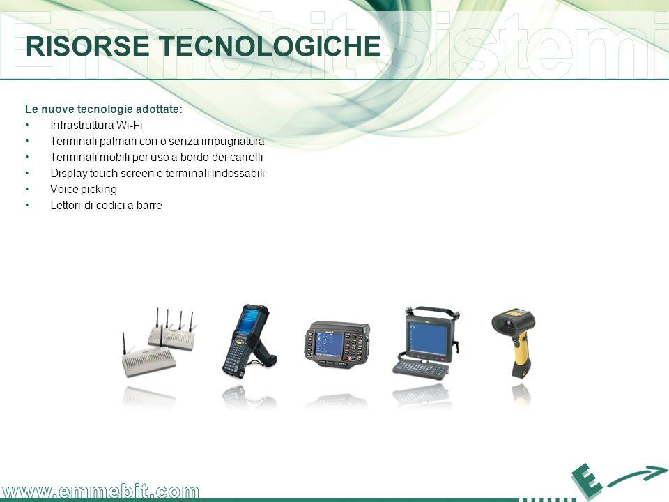 Le nuove tecnologie adottate: Infrastruttura Wi-Fi Terminali palmari con o senza impugnatura Terminali mobili per uso a bordo dei carrelli Display touch screen e terminali indossabili Voice picking Lettori di codici a barre RISORSE TECNOLOGICHE