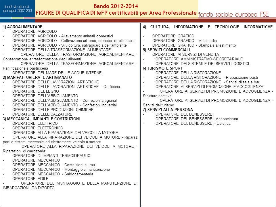 Bando 2012-2014 FIGURE DI QUALIFICA DI IeFP certificabili per Area Professionale 24 1) AGROALIMENTARE - OPERATORE AGRICOLO - OPERATORE AGRICOLO - Allevamento animali domestici - OPERATORE AGRICOLO - Coltivazione arboree, erbacee, ortofloricole - OPERATORE AGRICOLO - Silvicoltura, salvaguardia dell ambiente - OPERATORE DELLA TRASFORMAZIONE ALIMENTARE - OPERATORE DELLA TRASFORMAZIONE AGROALIMENTARE - Conservazione e trasformazione degli alimenti - OPERATORE DELLA TRASFORMAZIONE AGROALIMENTARE - Panificazione e pasticceria - OPERATORE DEL MARE DELLE ACQUE INTERNE 2) MANIFATTURIERA E ARTIGIANATO - OPERATORE DELLE LAVORAZIONI ARTISTICHE - OPERATORE DELLE LAVORAZIONI ARTISTICHE - Oreficeria - OPERATORE DEL LEGNO - OPERATORE DELLABBIGLIAMENTO - OPERATORE DELLABBIGLIAMENTO - Confezioni artigianali - OPERATORE DELLABBIGLIAMENTO - Confezioni industriali - OPERATORE DELLE PRODUZIONI CHIMICHE - OPERATORE DELLE CALZATURE 3) MECCANICA, IMPIANTI E COSTRUZIONI - OPERATORE ELETTRICO - OPERATORE ELETTRONICO - OPERATORE ALLA RIPARAZIONE DEI VEICOLI A MOTORE - OPERATORE ALLA RIPARAZIONE DEI VEICOLI A MOTORE - Riparaz parti e sistemi meccanici ed elettromecc.