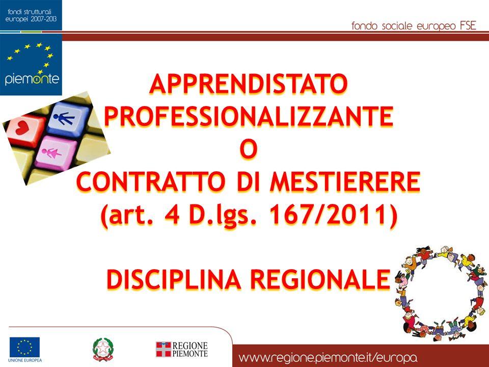 APPRENDISTATO PROFESSIONALIZZANTE O CONTRATTO DI MESTIERERE (art.