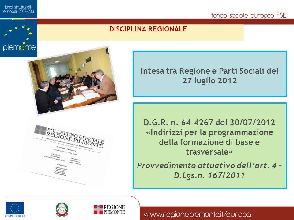 34 Intesa tra Regione e Parti Sociali del 27 luglio 2012 D.G.R.