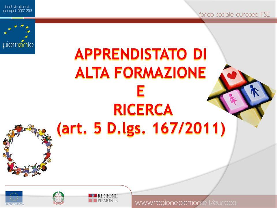 APPRENDISTATO DI ALTA FORMAZIONE E RICERCA RICERCA (art. 5 D.lgs. 167/2011)