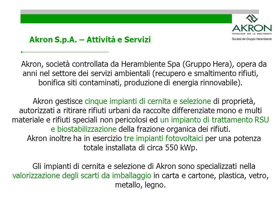 Akron, società controllata da Herambiente Spa (Gruppo Hera), opera da anni nel settore dei servizi ambientali (recupero e smaltimento rifiuti, bonific