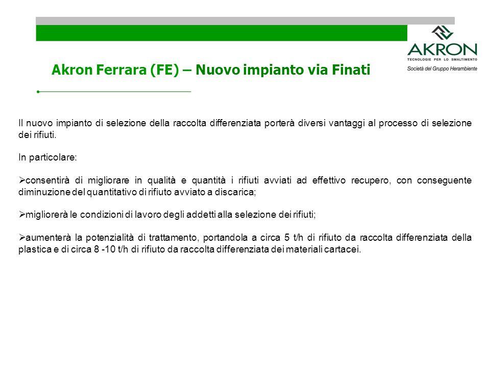 Akron Ferrara (FE) – Nuovo impianto via Finati Il nuovo impianto di selezione della raccolta differenziata porterà diversi vantaggi al processo di sel