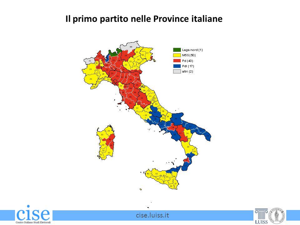 cise.luiss.it Il primo partito nelle Province italiane