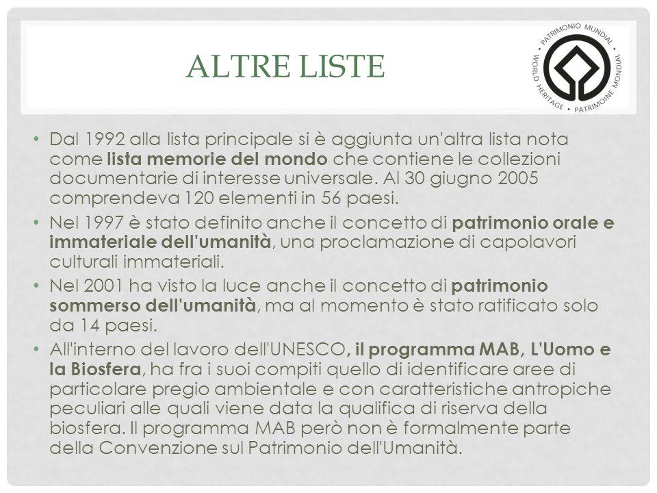 ALTRE LISTE Dal 1992 alla lista principale si è aggiunta un altra lista nota come lista memorie del mondo che contiene le collezioni documentarie di interesse universale.