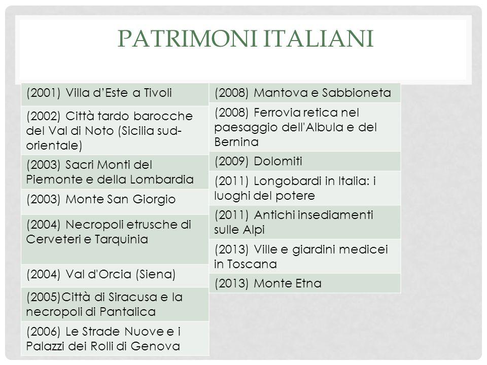 PATRIMONI ITALIANI (2001) Villa dEste a Tivoli (2002) Città tardo barocche del Val di Noto (Sicilia sud- orientale) (2003) Sacri Monti del Piemonte e della Lombardia (2003) Monte San Giorgio (2004) Necropoli etrusche di Cerveteri e Tarquinia (2004) Val d Orcia (Siena) (2005)Città di Siracusa e la necropoli di Pantalica (2006) Le Strade Nuove e i Palazzi dei Rolli di Genova (2008) Mantova e Sabbioneta (2008) Ferrovia retica nel paesaggio dell Albula e del Bernina (2009) Dolomiti (2011) Longobardi in Italia: i luoghi del potere (2011) Antichi insediamenti sulle Alpi (2013) Ville e giardini medicei in Toscana (2013) Monte Etna