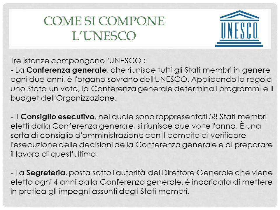 COME SI COMPONE LUNESCO Tre istanze compongono l UNESCO : - La Conferenza generale, che riunisce tutti gli Stati membri in genere ogni due anni, è l organo sovrano dell UNESCO.