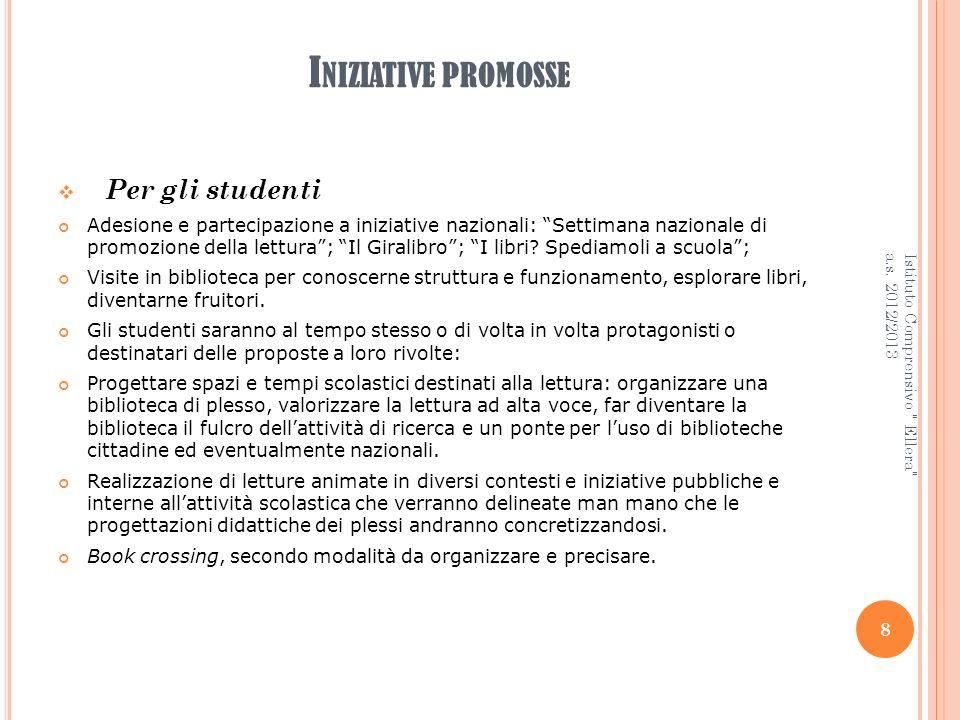 I NIZIATIVE PROMOSSE Per gli studenti Adesione e partecipazione a iniziative nazionali: Settimana nazionale di promozione della lettura; Il Giralibro;