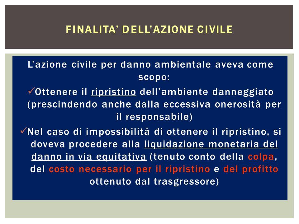 Lazione civile per danno ambientale aveva come scopo: Ottenere il ripristino dellambiente danneggiato (prescindendo anche dalla eccessiva onerosità pe