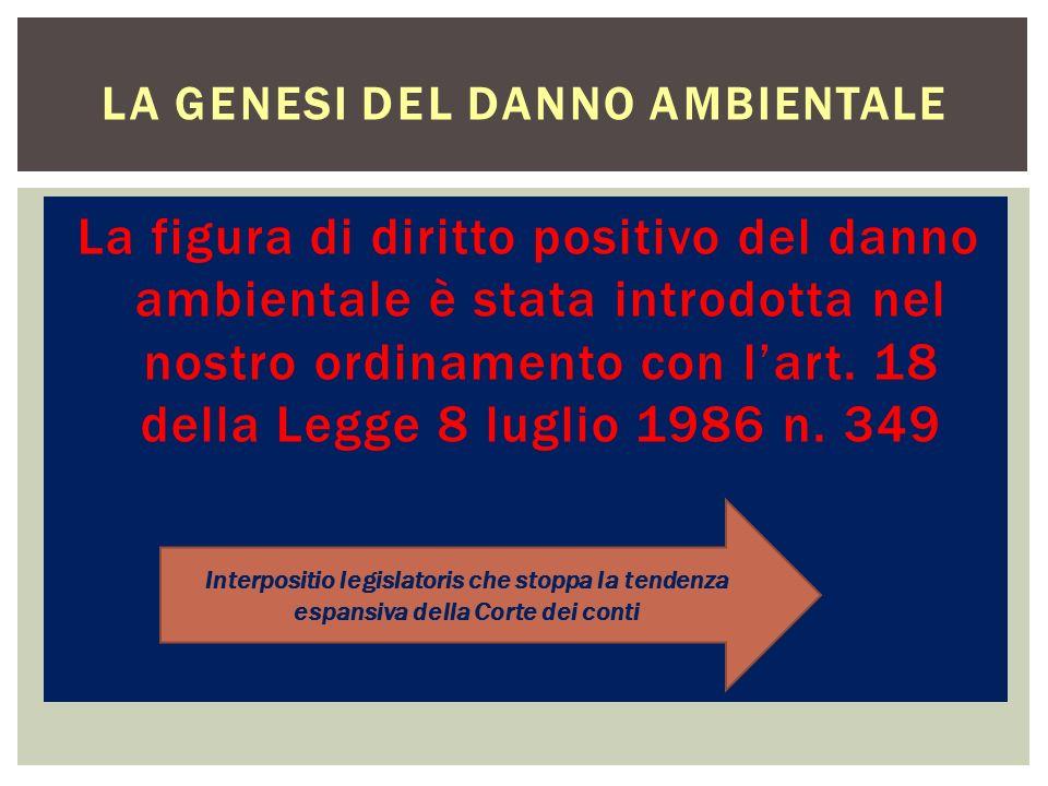 La figura di diritto positivo del danno ambientale è stata introdotta nel nostro ordinamento con lart. 18 della Legge 8 luglio 1986 n. 349 LA GENESI D