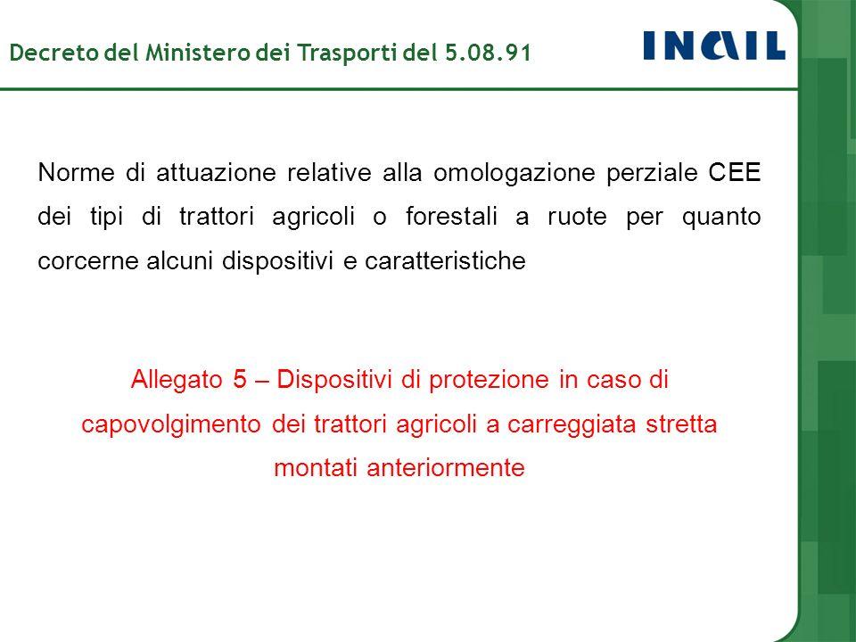 Norme di attuazione relative alla omologazione perziale CEE dei tipi di trattori agricoli o forestali a ruote per quanto corcerne alcuni dispositivi e