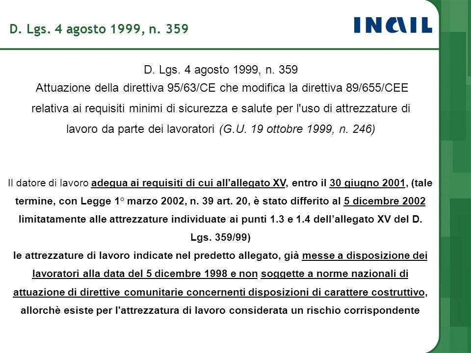 Il datore di lavoro adegua ai requisiti di cui all'allegato XV, entro il 30 giugno 2001, (tale termine, con Legge 1° marzo 2002, n. 39 art. 20, è stat