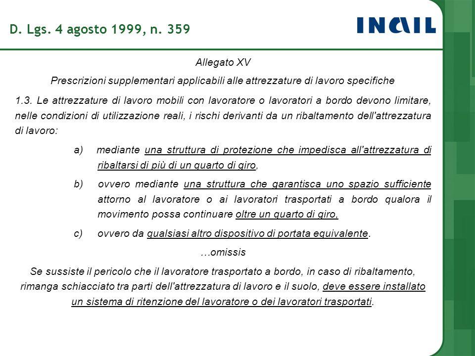 Allegato XV Prescrizioni supplementari applicabili alle attrezzature di lavoro specifiche 1.3. Le attrezzature di lavoro mobili con lavoratore o lavor