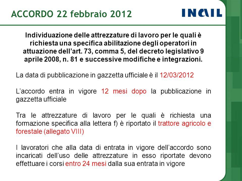 ACCORDO 22 febbraio 2012 Individuazione delle attrezzature di lavoro per le quali è richiesta una specifica abilitazione degli operatori in attuazione