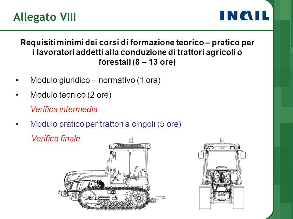 Allegato VIII Requisiti minimi dei corsi di formazione teorico – pratico per i lavoratori addetti alla conduzione di trattori agricoli o forestali (8