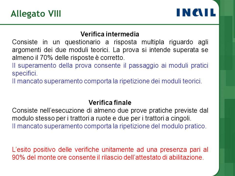 Allegato VIII Verifica intermedia Consiste in un questionario a risposta multipla riguardo agli argomenti dei due moduli teorici. La prova si intende