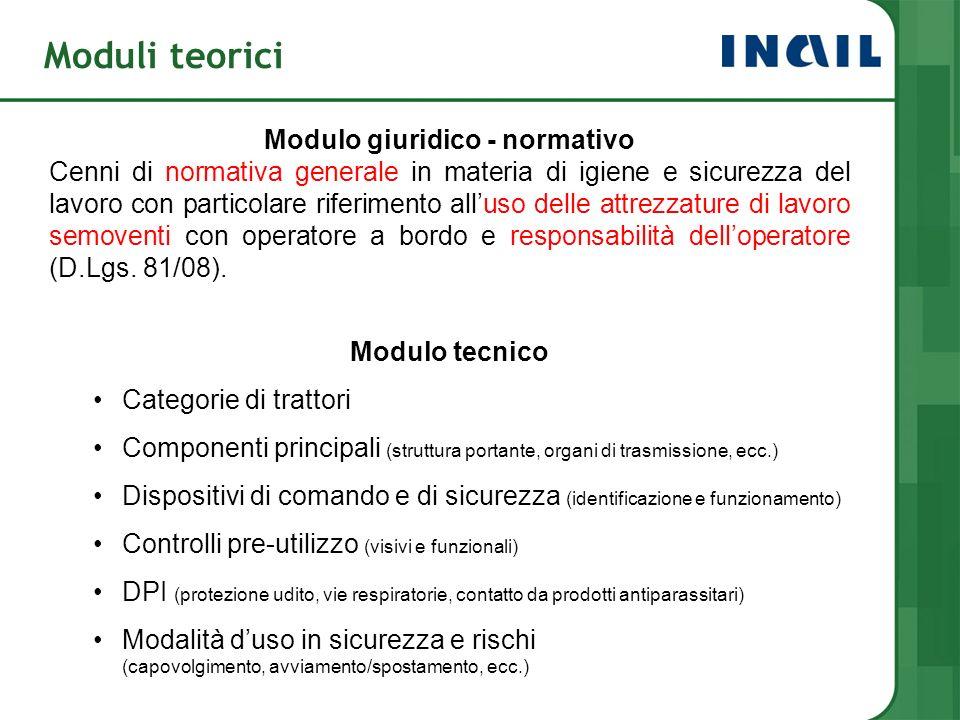 Moduli teorici Modulo giuridico - normativo Cenni di normativa generale in materia di igiene e sicurezza del lavoro con particolare riferimento alluso