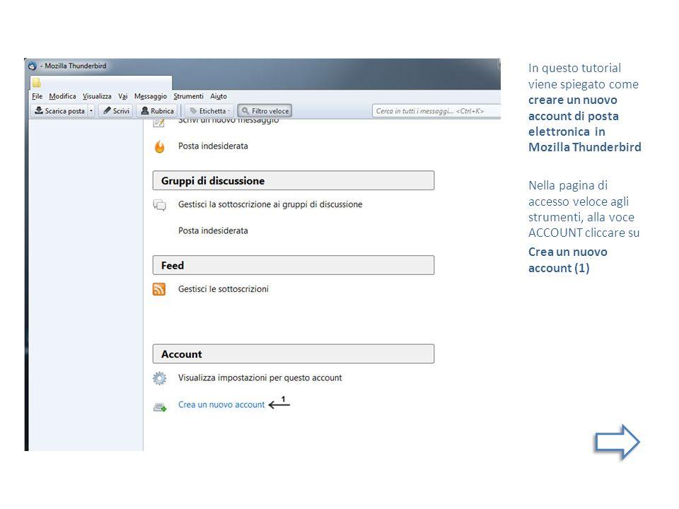 In questo tutorial viene spiegato come creare un nuovo account di posta elettronica in Mozilla Thunderbird Nella pagina di accesso veloce agli strumenti, alla voce ACCOUNT cliccare su Crea un nuovo account (1)