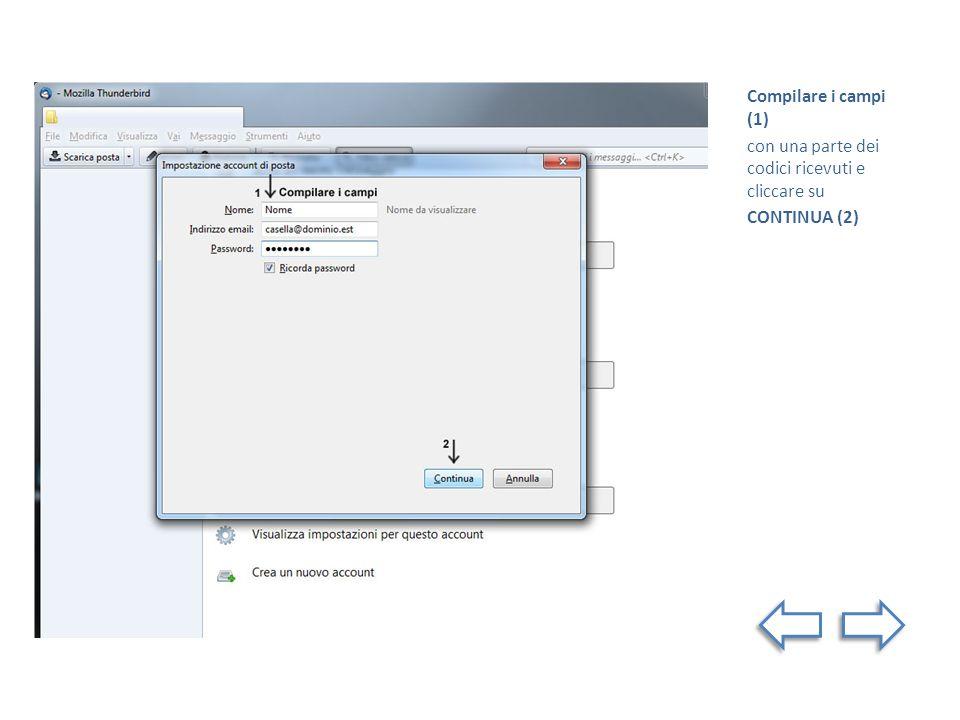 Compilare i campi (1) con una parte dei codici ricevuti e cliccare su CONTINUA (2)