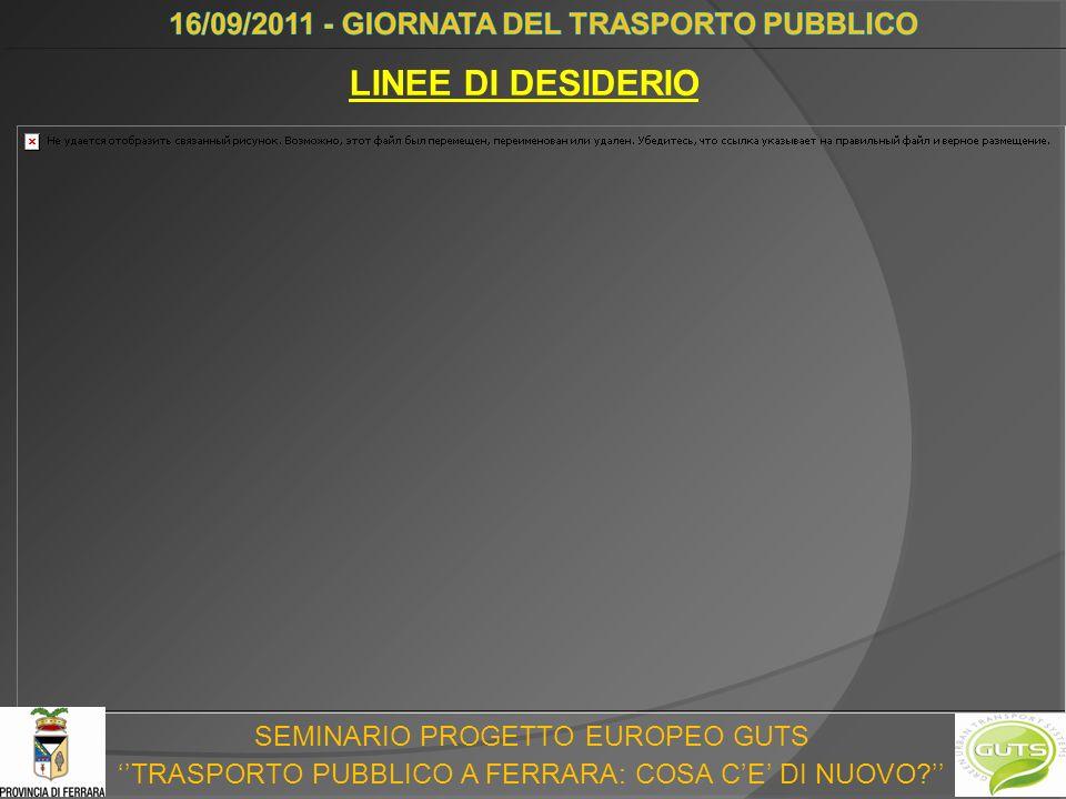 SEMINARIO PROGETTO EUROPEO GUTS TRASPORTO PUBBLICO A FERRARA: COSA CE DI NUOVO LINEE DI DESIDERIO