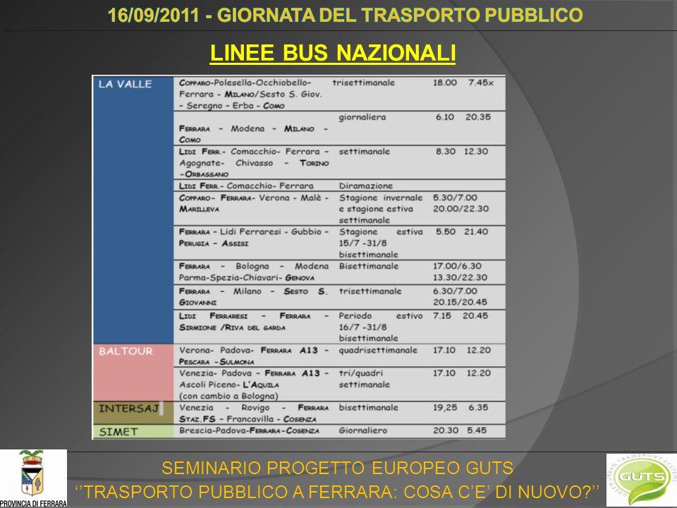SEMINARIO PROGETTO EUROPEO GUTS TRASPORTO PUBBLICO A FERRARA: COSA CE DI NUOVO LINEE BUS NAZIONALI