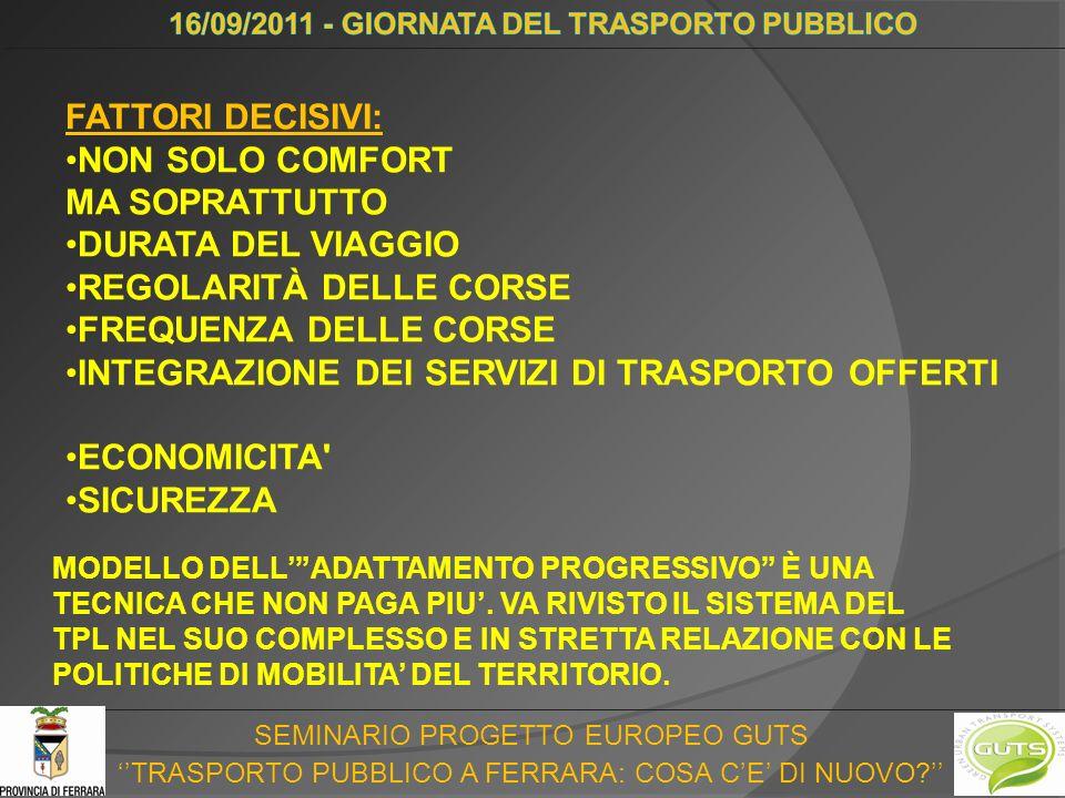SEMINARIO PROGETTO EUROPEO GUTS TRASPORTO PUBBLICO A FERRARA: COSA CE DI NUOVO.