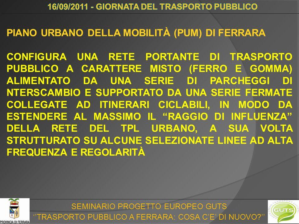 SEMINARIO PROGETTO EUROPEO GUTS TRASPORTO PUBBLICO A FERRARA: COSA CE DI NUOVO? LINEE DI DESIDERIO