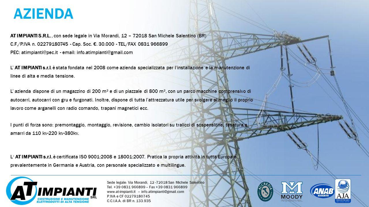 AZIENDA AT IMPIANTI S.R.L., con sede legale in Via Morandi, 12 – 72018 San Michele Salentino (BR) C.F./P.IVA n. 02279180745 - Cap. Soc.. 30.000 - TEL/
