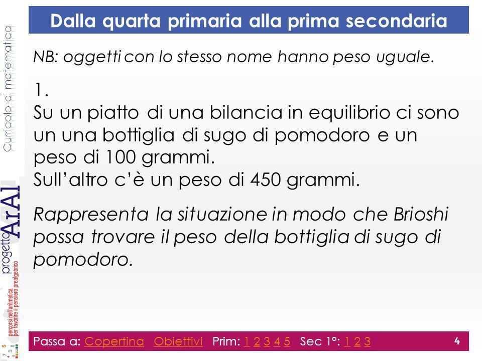 Dalla quarta primaria alla prima secondaria NB: oggetti con lo stesso nome hanno peso uguale. 1. Su un piatto di una bilancia in equilibrio ci sono un