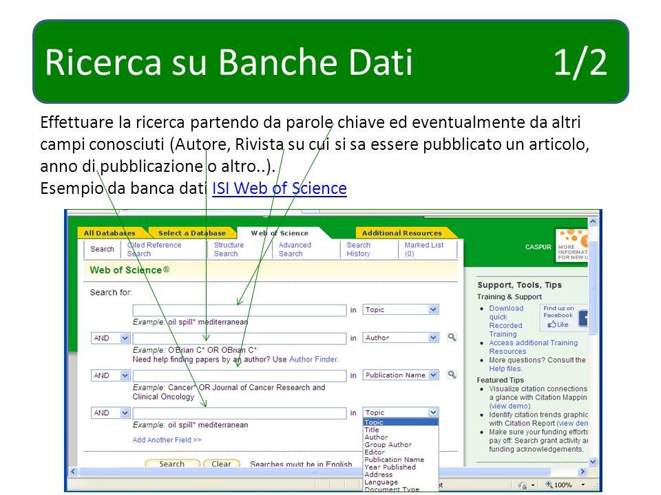 Ricerca su Banche Dati 2/2 Esempio di ricerca su banca dati Cab Abstract.Cab Abstract Dal tab Advanced search inserire Parola chiave o Autore o Titolo dellarticolo o Rivista e porre dei limiti (come un range temporale o se si desidera ottenere solo articoli in fulltext…)