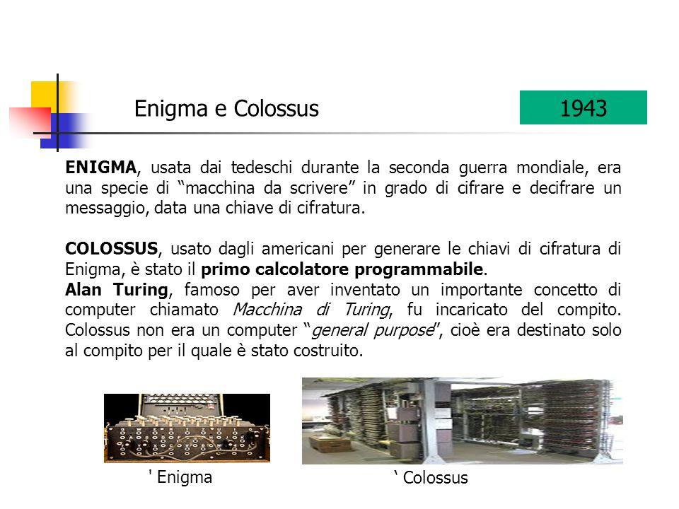ENIGMA, usata dai tedeschi durante la seconda guerra mondiale, era una specie di macchina da scrivere in grado di cifrare e decifrare un messaggio, da