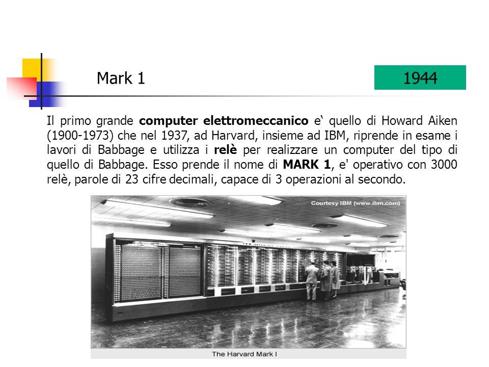Il primo grande computer elettromeccanico e quello di Howard Aiken (1900-1973) che nel 1937, ad Harvard, insieme ad IBM, riprende in esame i lavori di Babbage e utilizza i relè per realizzare un computer del tipo di quello di Babbage.