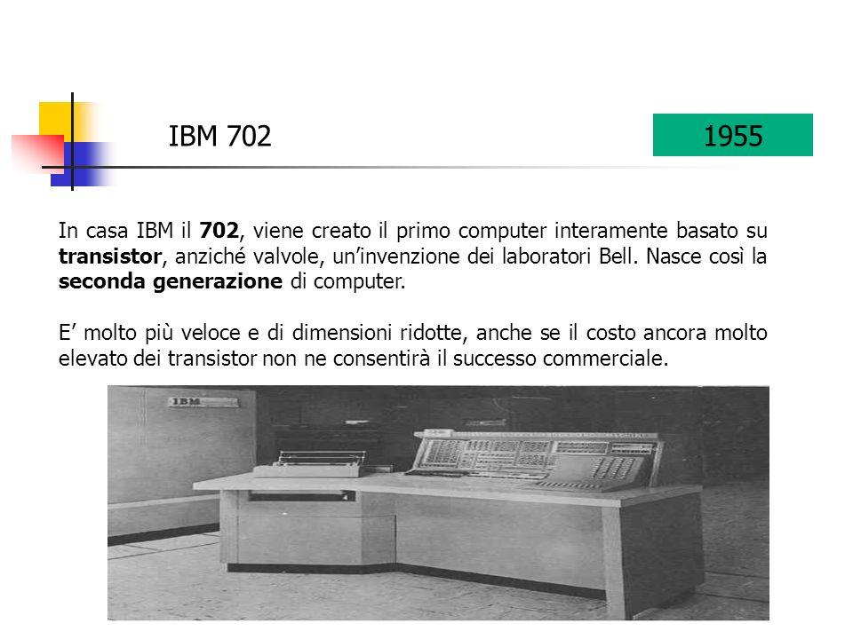 IBM 702 In casa IBM il 702, viene creato il primo computer interamente basato su transistor, anziché valvole, uninvenzione dei laboratori Bell. Nasce