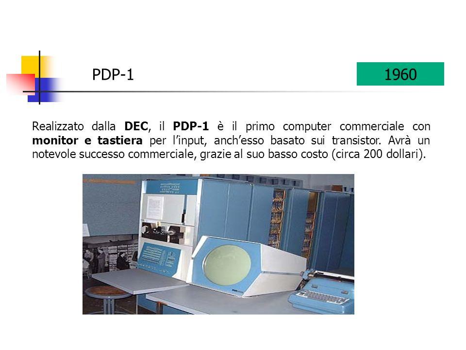 PDP-11960 Realizzato dalla DEC, il PDP-1 è il primo computer commerciale con monitor e tastiera per linput, anchesso basato sui transistor.