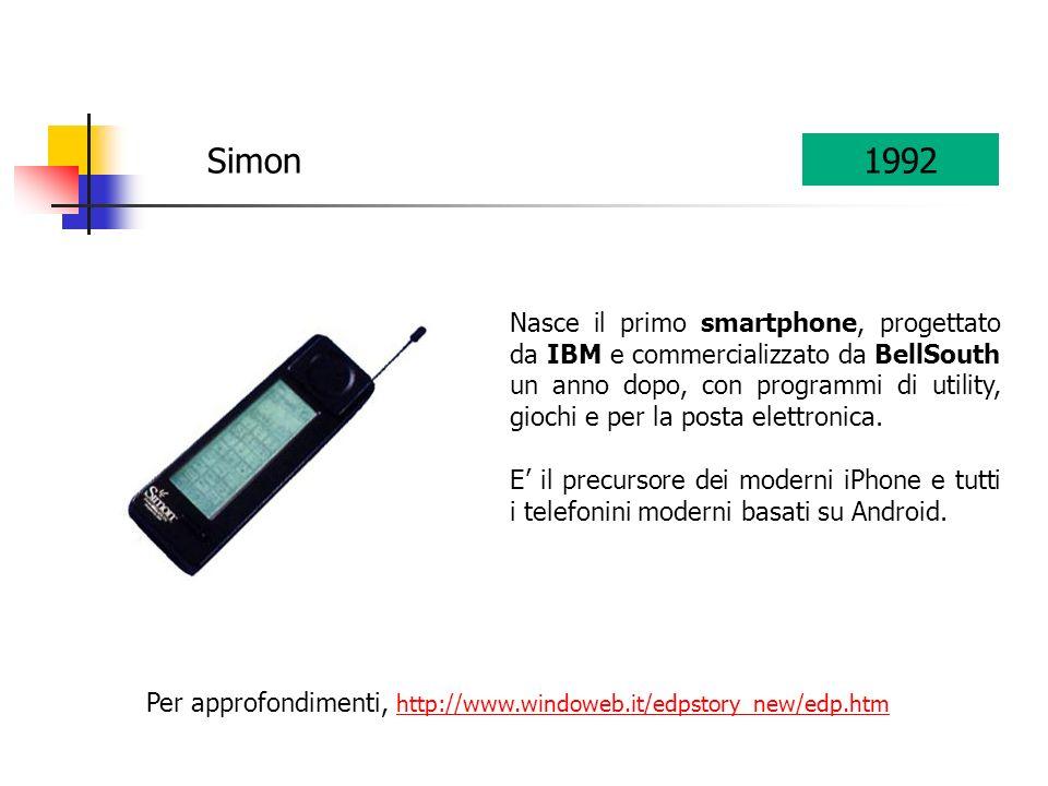 Per approfondimenti, http://www.windoweb.it/edpstory_new/edp.htm http://www.windoweb.it/edpstory_new/edp.htm Simon1992 Nasce il primo smartphone, progettato da IBM e commercializzato da BellSouth un anno dopo, con programmi di utility, giochi e per la posta elettronica.