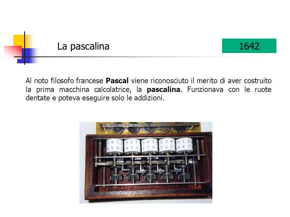 Al noto filosofo francese Pascal viene riconosciuto il merito di aver costruito la prima macchina calcolatrice, la pascalina. Funzionava con le ruote